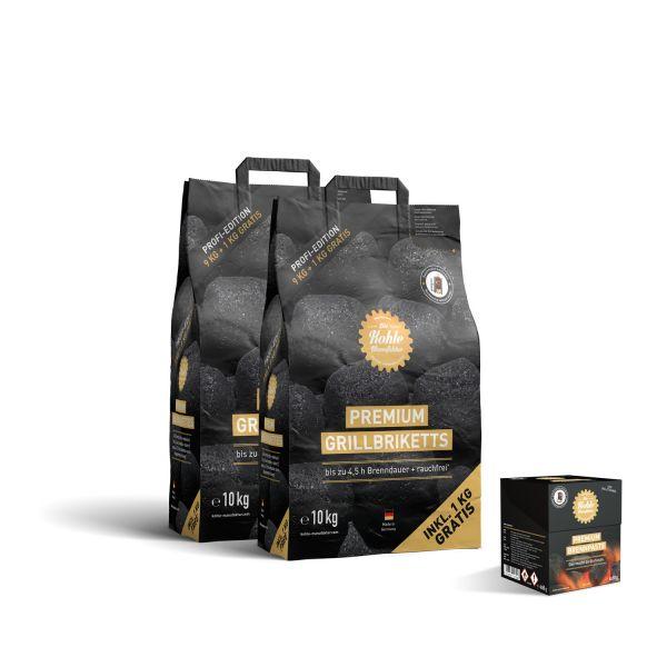 Doppelpack Premium Grillbriketts (2 x 10kg) inkl. 4 x Brennpaste