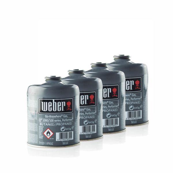 4x Weber 26100 Gas-Kartusche für Q100/1000-Serien & Performer Touch-N-Go