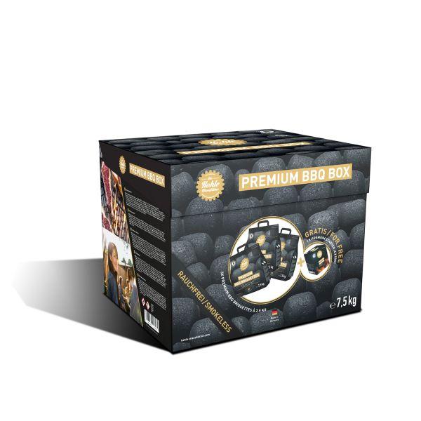 Premium Grillbriketts (3x 2,5kg) + 4x Brennpaste in Premium BBQ Box