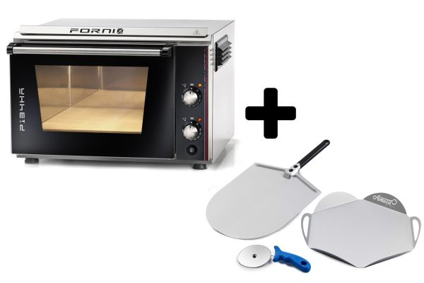 EFFEUNO P134HA 509 Elektro Pizzaofen, inkl. Biscotto-Pizzastein + Gi.Metal Pizzaheber - Modell 2021