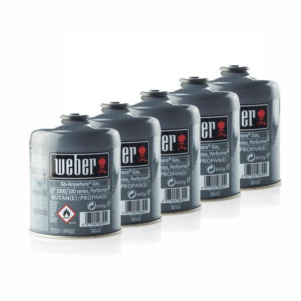 5x Weber 26100 Gas-Kartusche für Q100/1000-Serien & Performer Touch-N-Go