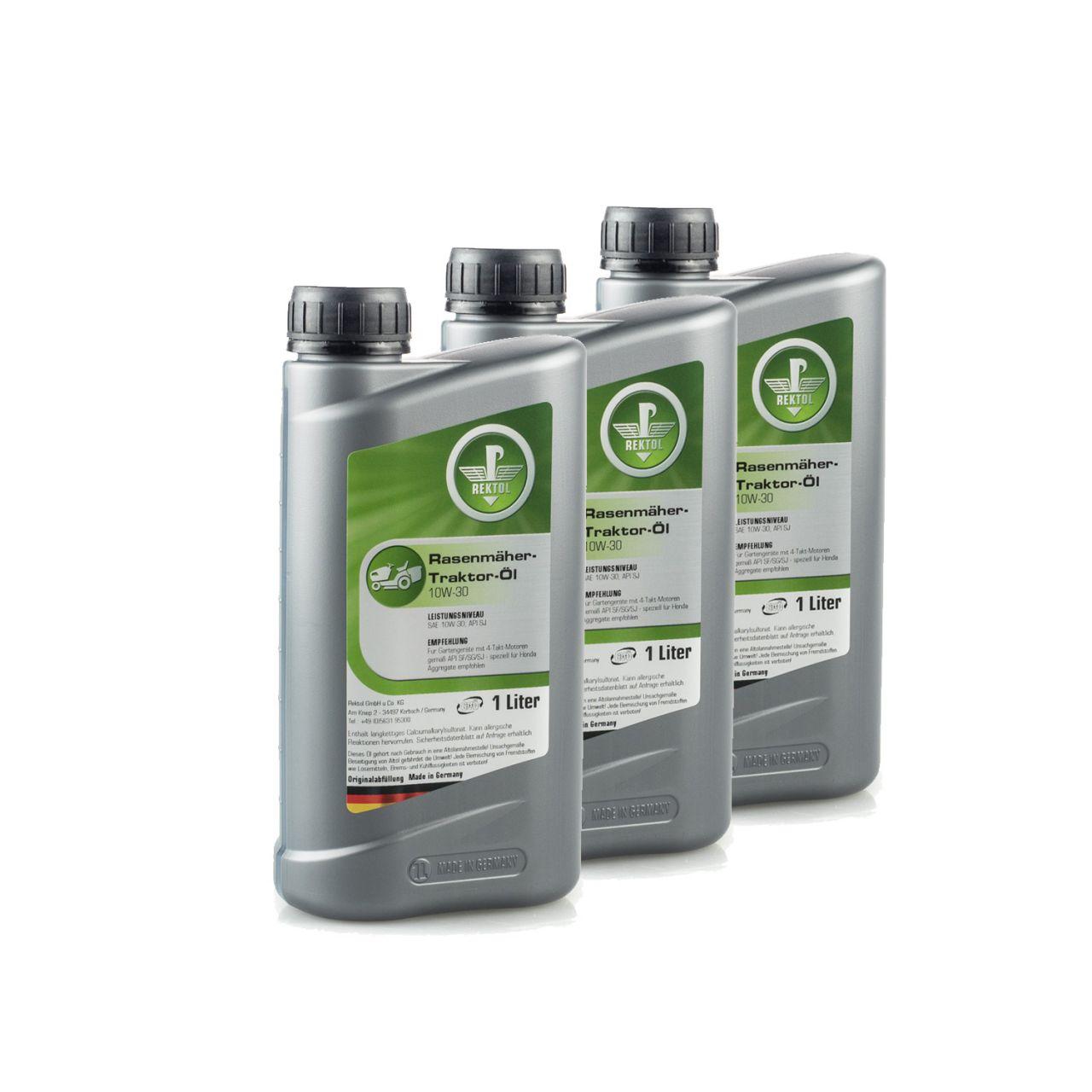Rektol Rasenmäher & Rasentraktor Öl 10W30 (3x 1 Liter) RK_001