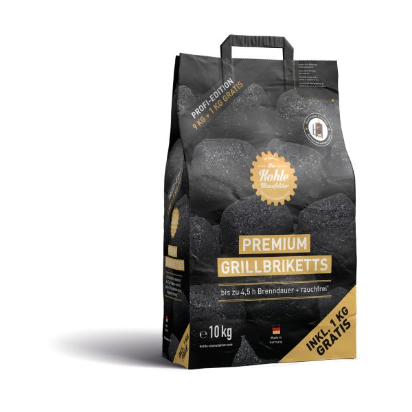 Premium Grillbriketts 10kg, inkl. 2x Brennpaste