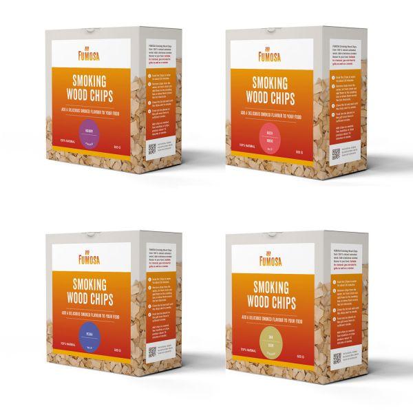 FUMOSA Räucherchips Set, 4 Sorten je 500 g | Hickory, Pecan, Buche, Eiche