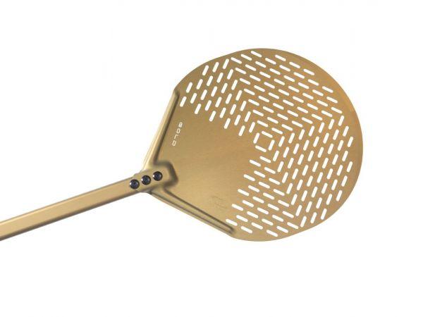 Gi.Metal »Linea Gold« abgerundeter Pizzaheber mit langem Stiel (150 cm), perforiert