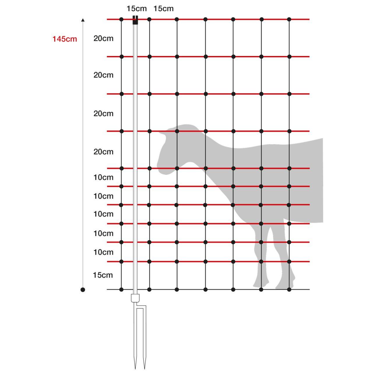 horizont horinetz Super Wolfsabwehrnetz 145cm 50m (Doppelspitze) 14967