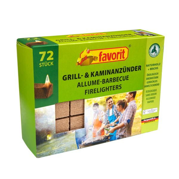 Favorit Grill-Kaminanzünder aus Naturholz, 72 Stück