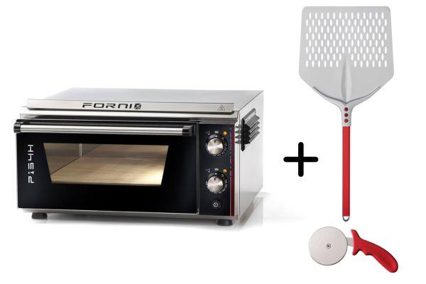 EFFEUNO P134H 509 Elektro Pizzaofen, inkl. Biscotto-Pizzastein + Gi.Metal Pizzaheber - Modell 2021