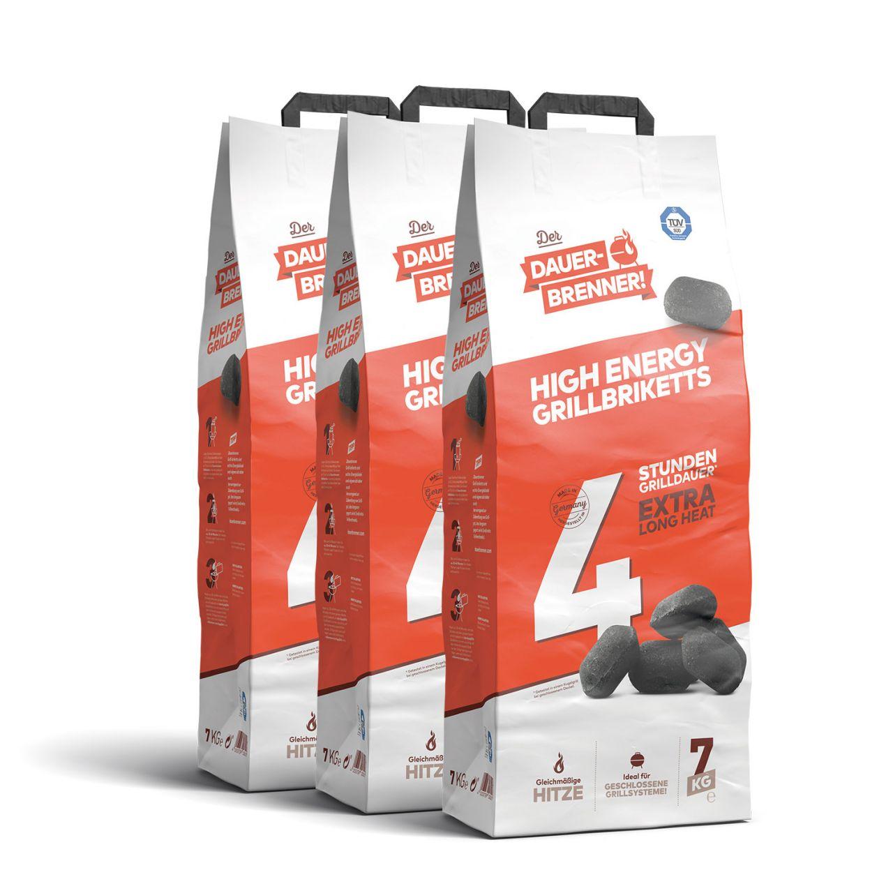 Der Dauerbrenner High Energy Grillbriketts (3x 7kg)