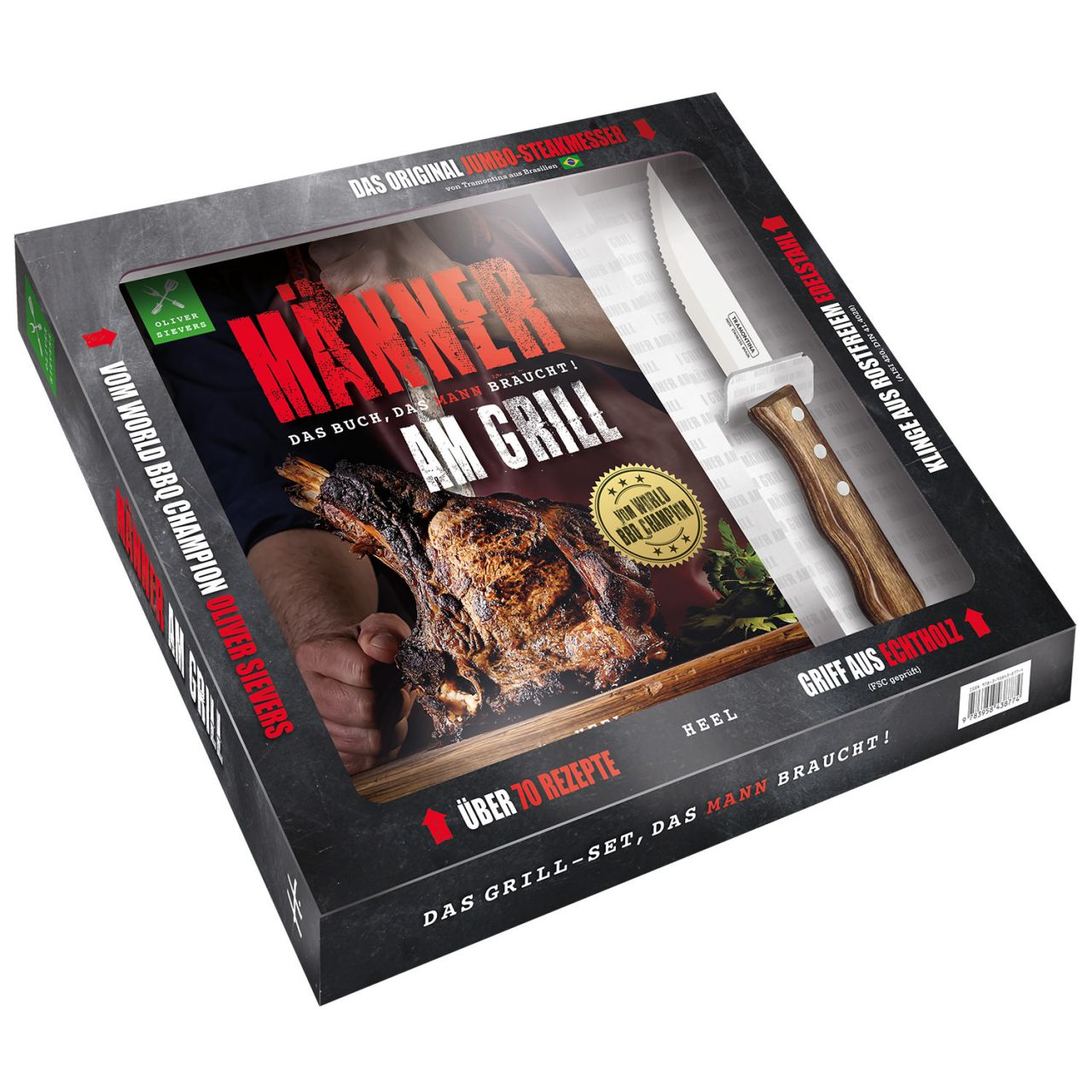 Heel Verlag Grillbuch Männer am Grill Das Buch das Mann braucht + Steakmesser 978-3-95843-877-4