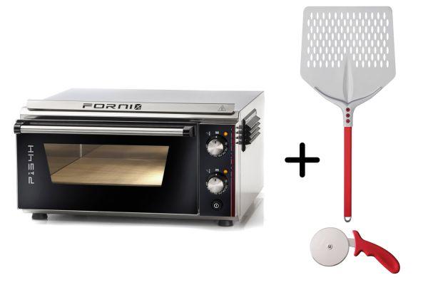 EFFEUNO P134H Elektro Pizzaofen, inkl. Biscotto-Pizzastein + Gi.Metal Pizzaheber - Modell 2021