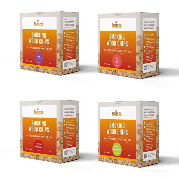 FUMOSA Räucherchips Set, 4 Sorten je 500 g | Hickory, Buche, Kirsche, Apfel