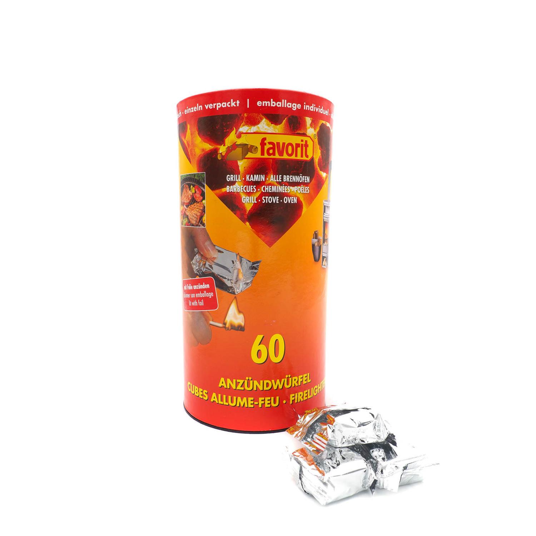 favorit 60 stück anzündwürfel einzeln verpackt. grillanzünder