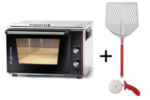 EFFEUNO P134HA Elektro Pizzaofen, inkl. Biscotto-Pizzastein + Gi.Metal Pizzaheber - Modell 2021