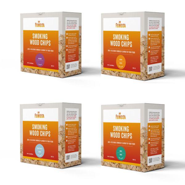 FUMOSA Räucherchips Set, 4 Sorten je 500 g | Hickory, Ahorn, Akazie, Birke