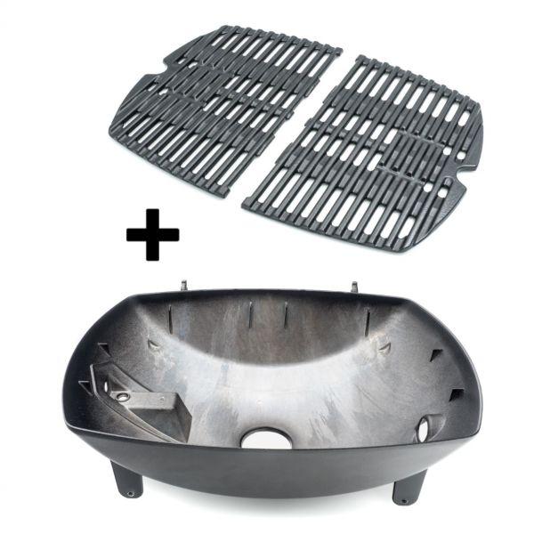 Weber Ersatzteil-Set: Grillwanne und gusseiserner Grillrost für Q100 / Q120 / Q1000 / Q1200 Gasgrill