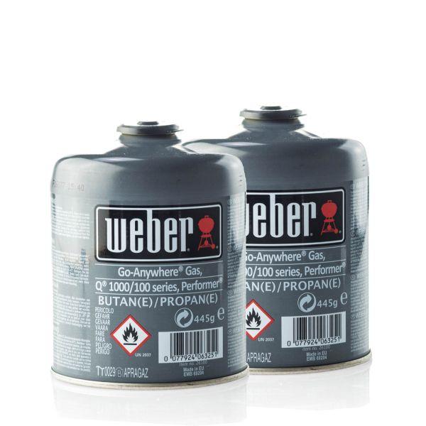 2x Weber 26100 Gas-Kartusche für Q100/1000-Serien & Performer Touch-N-Go