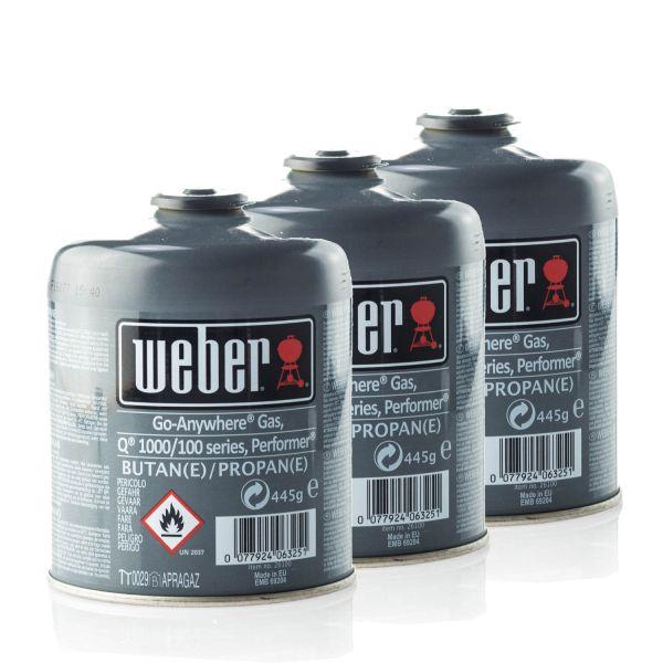 3x Weber 26100 Gas-Kartusche für Q100/1000-Serien & Performer Touch-N-Go