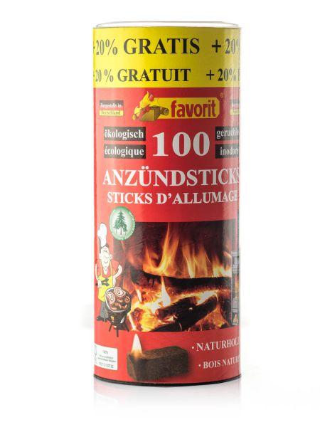Favorit Anzündsticks Naturholz, 100 Stück