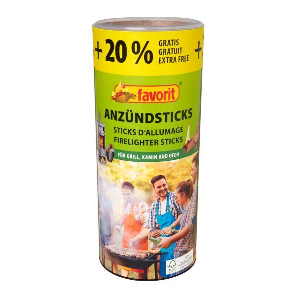 Favorit 1257 Anzündsticks Naturholz, 120 Stück