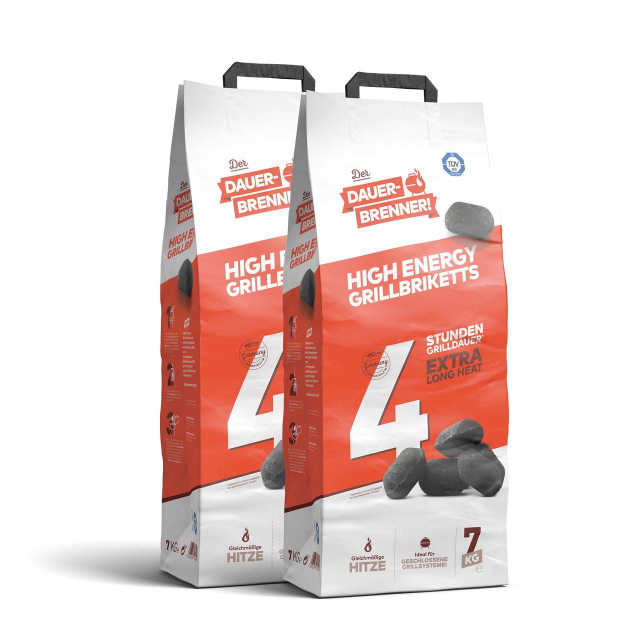 Der Dauerbrenner High Energy Grillbriketts (2x 7kg)
