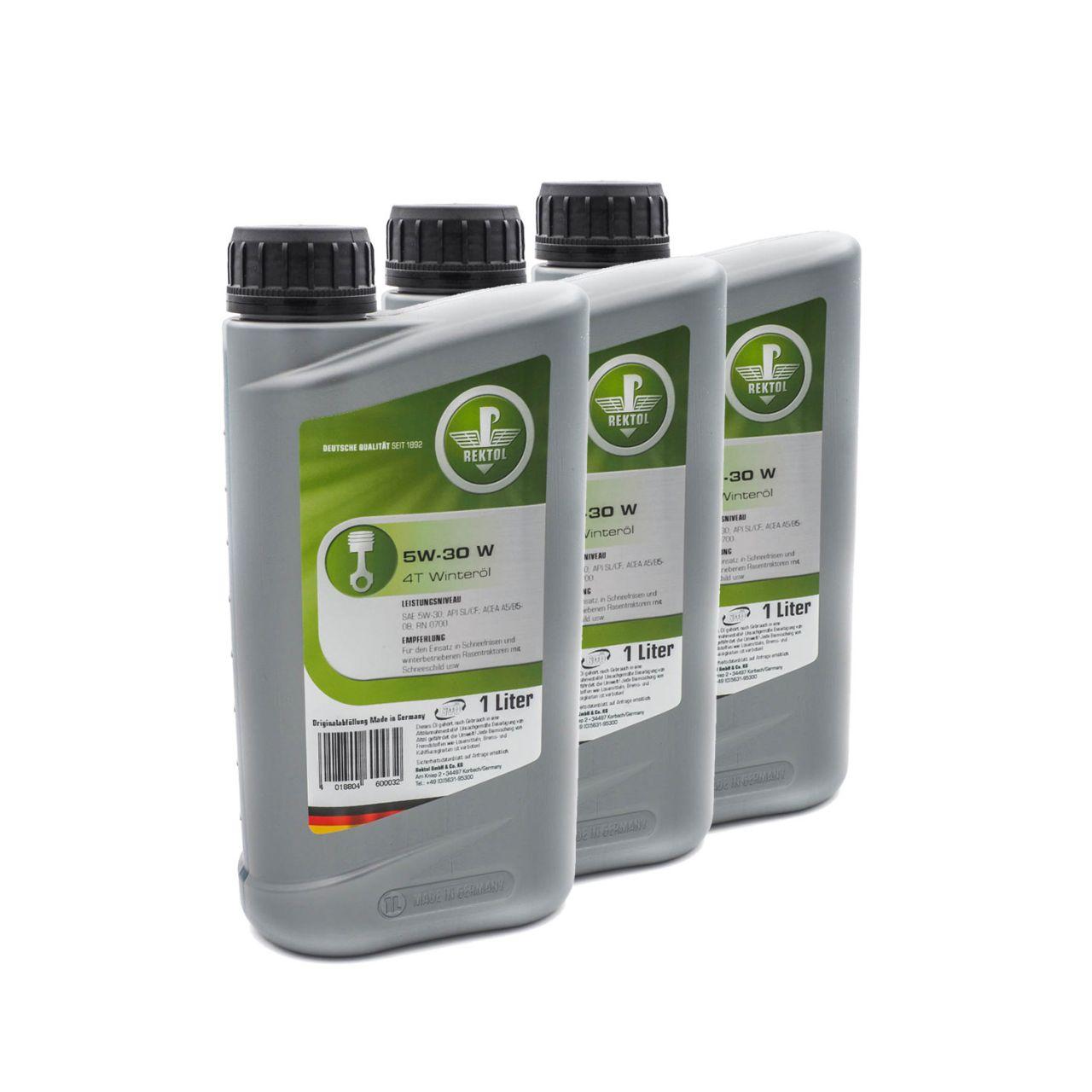 Rektol Winteröl 5W30 W 4T für Schneefräsen und Rasentraktoren (3x 1 Liter) RK_002