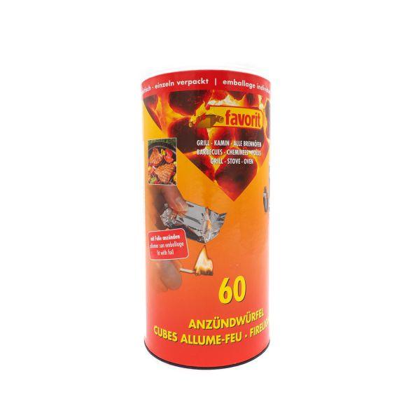 Favorit Anzündwürfel in der Dose, 60 Stück, einzeln verpackt