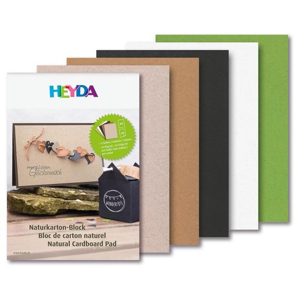 Naturkarton-Block DIN A4 20 Bl. 5 Farben pro Farbe je 2x90g/m² & 2x200g/m²