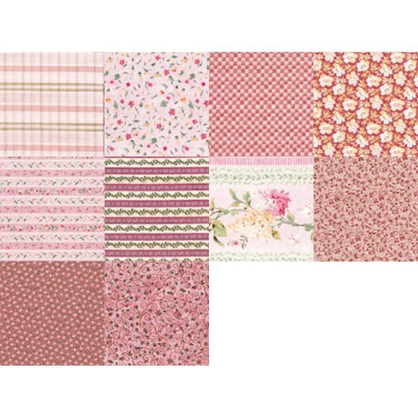Patchwork-Set 10 Zuschnitte à 45x55cm rosa 100% Baumwolle, 140g/m²