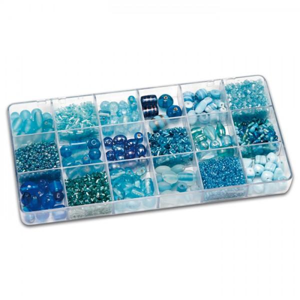 Schmuckbox groß Glasperlen 3-16mm 200g hellblau Lochgr. ca. 0,7-1,5mm