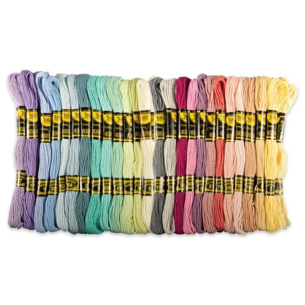 Stickgarn-Sortiment 26 Pastell-Farben/52 Stränge à 8m 100% Baumwolle