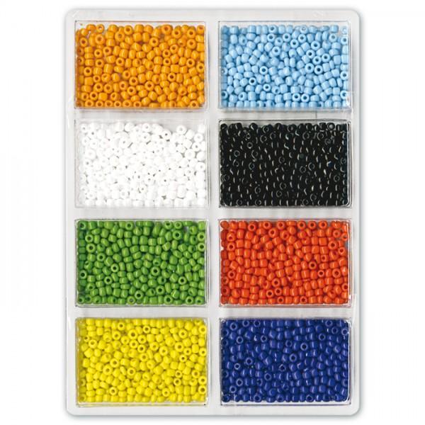 Rocailles opak satt 2,5mm 60g 8 Farben Glas, Lochgr. ca. 0,9mm
