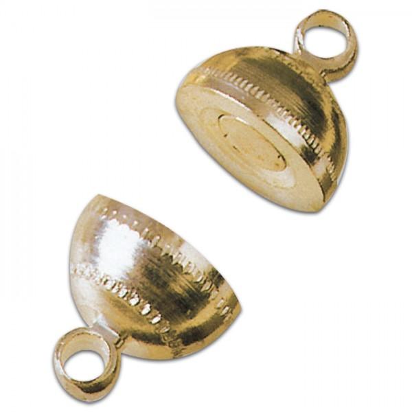 Magnetschließe rund Metall 8x14mm goldfarben Lochgr. ca. 1,5mm