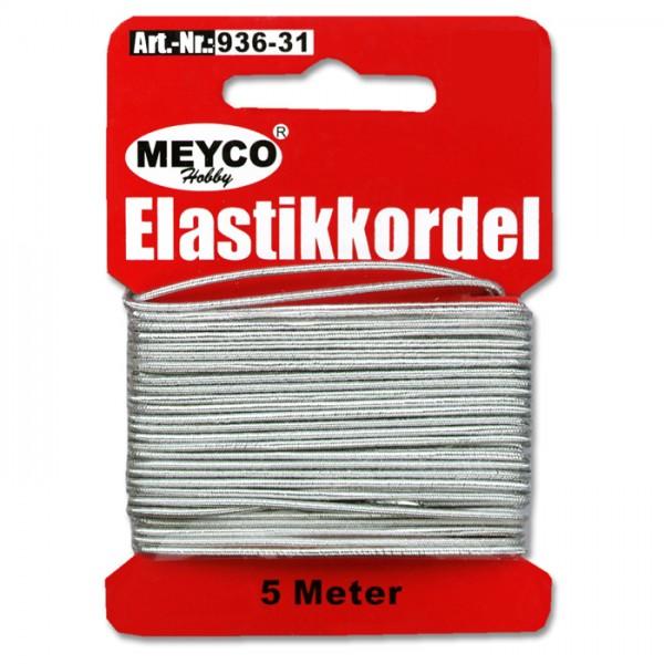 Elastikkordel 1mm 5m silberfarben 20% Polyester, 80% Elastodien (Latex)