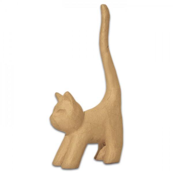 Katze stehend Pappmaché 13,5x7x32cm Größe S, von Décopatch