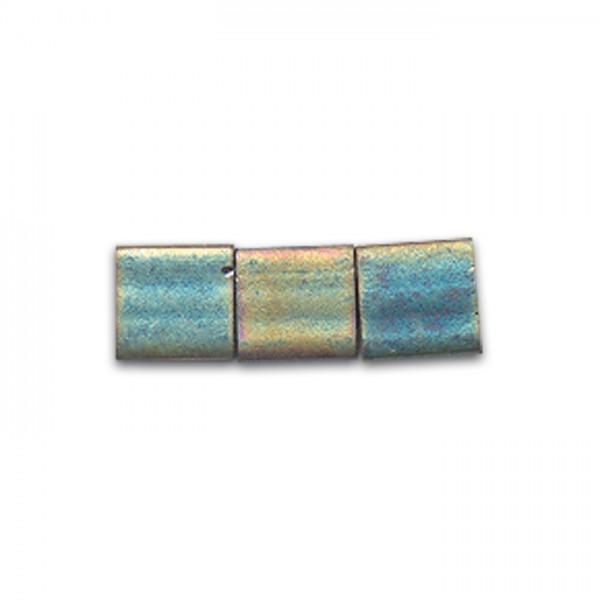 Tila-Beads 5x5x1,9mm 4g goldf. green metallic matt ca. 50 St., 2-Loch-Glasperlen, Lochgr. ca. 0,7mm