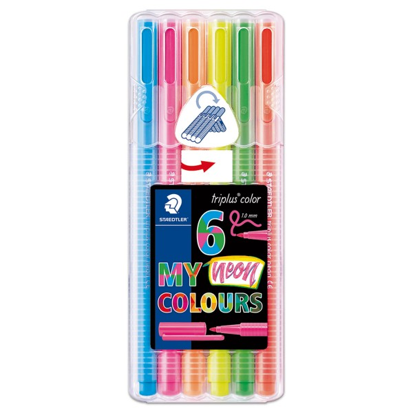 triplus color 323 Sortiment 6 Fasermaler neon colours Strichbreite 1mm, Dreikantform