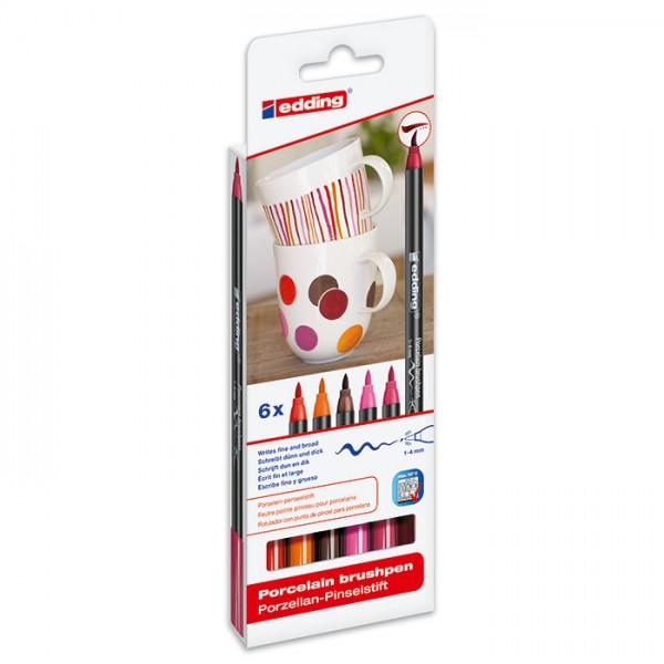 edding 4200 Porzellan-Pinselstifte 6 St. Pink-/Rottöne Strichbreite 1-4mm
