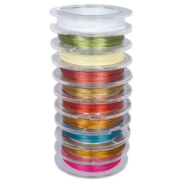 Edelstahldraht-Mix 0,38mm 10x10m nylonummantelt, 10 Farben
