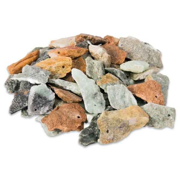 Splittersteine Speckstein ca. 3-5cm ca. 45-50 St. ca. 1,5kg, mit Bohrung, farblich gemischt