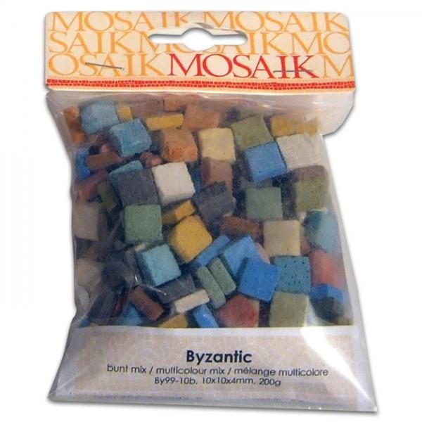 Byzantic-Mosaik ca. 4mm 10x10mm 1kg Bunt Mix Gießkeramik, ca. 1.250 Steine