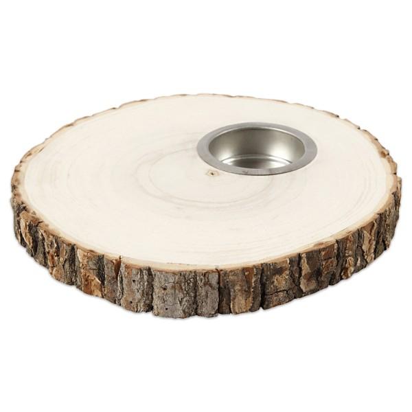 Teelichthalter Baumholzscheibe mit Rinde und Metallmulde ca. 14-16x17cm natur