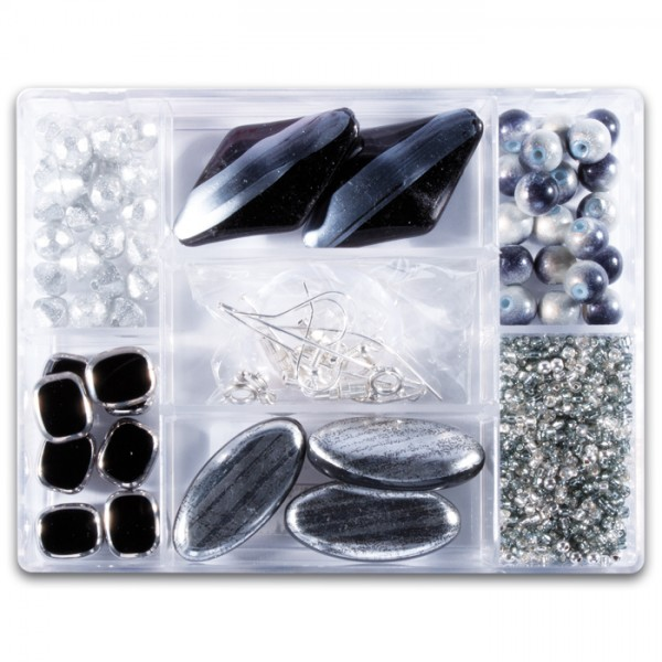 Glasperlen-Mix ca. 7-15mm ca. 70g schwarz-silberf. Box 7 Fächer, inkl. Zubehör, Lochgr. ca. 0,7-1mm