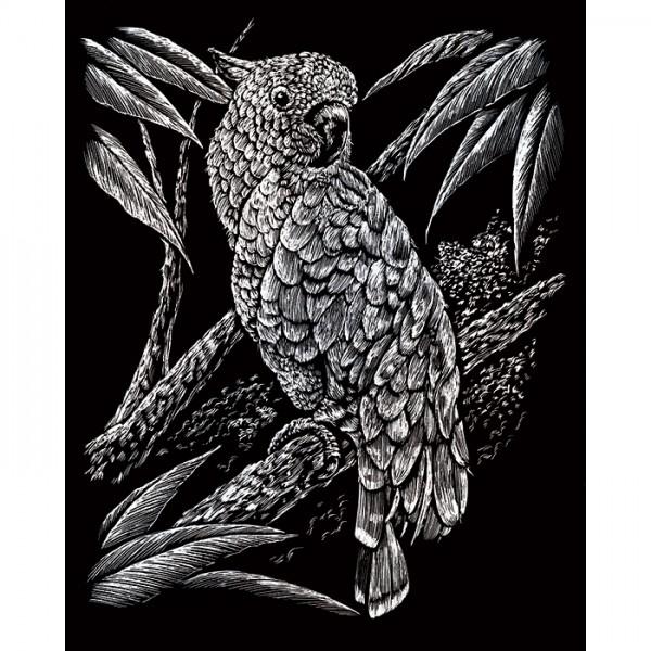 Kratzbild silber 20,3x25,4cm Kakadu