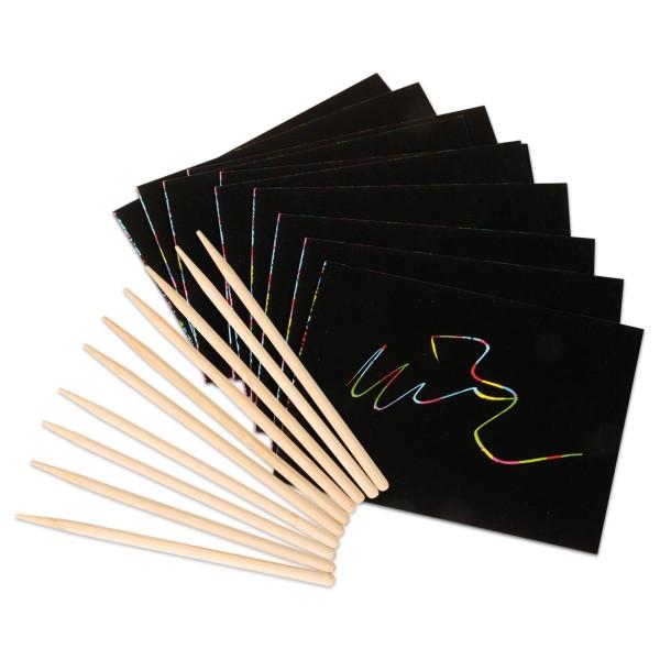 Scratch Magic Kratzkartone 14x10cm 10 St. Karton/Holz, inkl. 10 Kratzgriffel