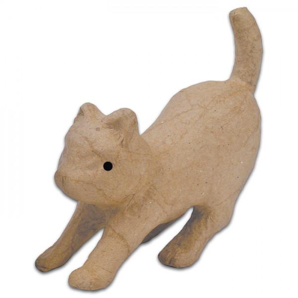 Katze gestreckt Pappmaché 5x12x11,5cm Größe XS, von Décopatch