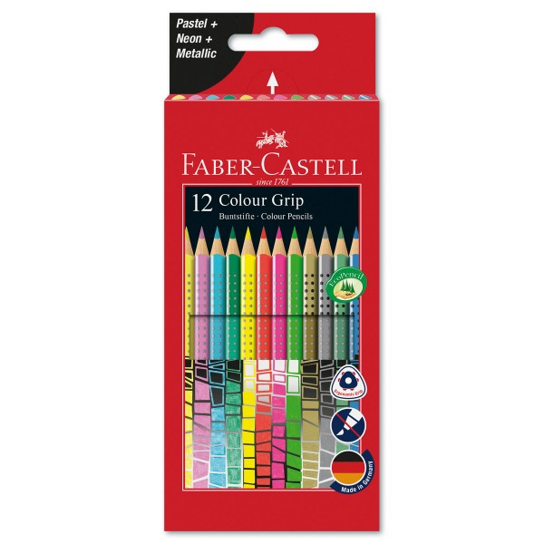Colour Grip Buntstifte Sonderfarbset 12 Farbstifte/Farben Mine 3,2mm, besonders leuchtend, Dreikantf