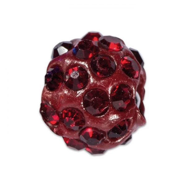 Strass-Kugel/Strassperle 10mm siam/rot Kunststoff/Glas, Lochgröße ca. 1,3mm