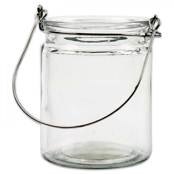Laterne zylindrisch Glas/Metall Ø 7,6x10cm mit Aufhängebügel