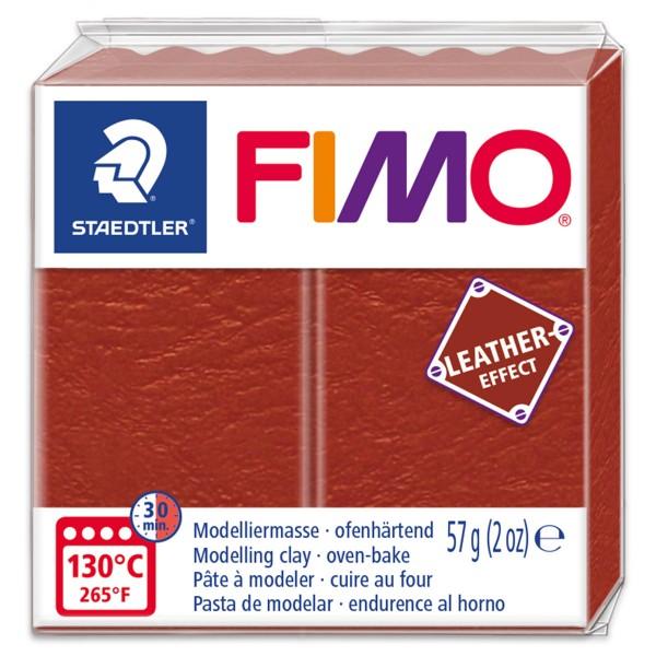 FIMO Leder-Effekt 55x55x15mm 57g rost ofenhärtende Modelliermasse, leather effect